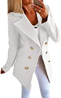 Women's Classic Wool Blend Coats Double Breasted Long Sleeve Pea Coat