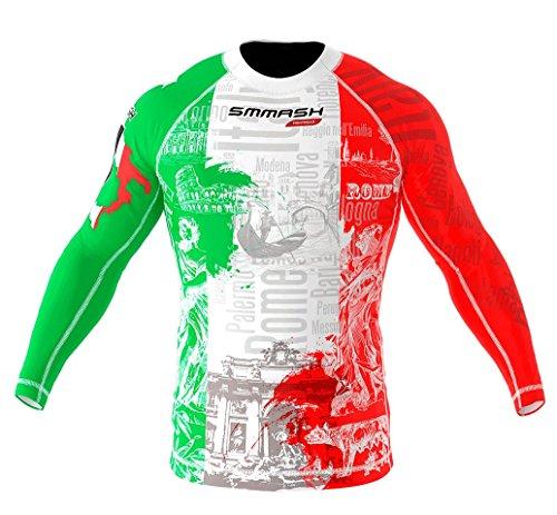 SMMASH Italy Rashguard Uomo Manica Lunga, Maglietta a Compressione per MMA, Krav Maga, BJJ, Grappling, Traspirante e Leggero, Materiale Antibatterico, Prodotto nell'Unione Europea (L)