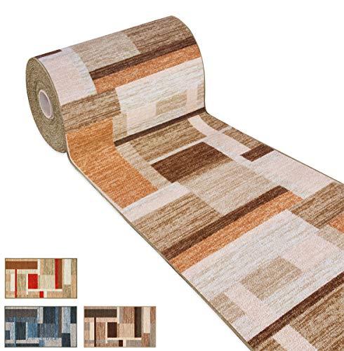 ARREDIAMOINSIEME-nelweb Tappeto Cucina Tessitura Piatta Retro Antiscivolo Moderno Quadri Multiuso Corridoio Bagno Camera MOD.FAKIRO38 57x240 Marrone (C)