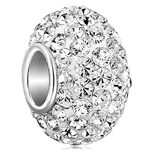 1pc Sterling Silver April Diamond Clear Birthstone Charm Bead Swarovski Crystal Elements fit Charm Bracelets Necklace Women Girls Gifts EC684-4