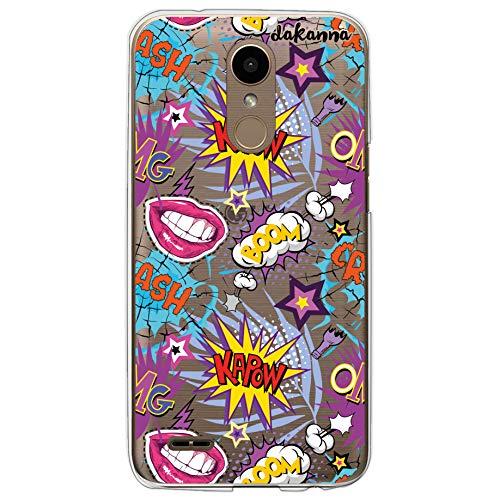 Dakanna Funda compatible con [LG K10 2017] de Silicona Flexible, Dibujo Diseño [Pattern con frases estilo comic y labios boom], Color [Fondo Transparente] Carcasa Case Cover de Gel TPU para smartphone