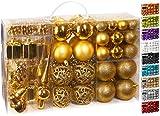 Brubaker Set di 101 Accessori Decorativi per L'Albero di Natale - addobbi Natalizie in Color Oro - Diverse Forme di Palline ed Un Puntale per Albero di Natale