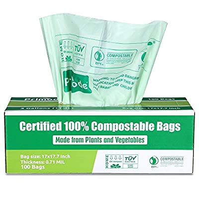 Primode 100% Compostable Bags, 3 Gallon Food Scraps Yard Waste Bags, Extra Thick 0.71 Mil. ASTMD6400 Biodegradable Compost Bags Small Kitchen Trash Bags, Certified by BPI and VINCETTE
