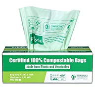 Primode 100% Compostable Trash Bags, 3 Gallon Food Scraps Yard Waste Bags, 100 Count, Extra Thick 0.71 Mil. ASTM D6400 Compost Bags Small Kitchen Bin Bags, Certified by BPI and TUV in Box