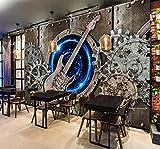 LZQMO Papel Tapiz Personalidad de la Moda Guitarra Fresca Mural Papel de Pared 3D Metal Bass Rock Bar KTV Industrial Decor Fondo Wallpaper 3D-3D_250x175cm