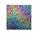 Arts Canvas Wall Art for Living Room Rainbow Abstract Oil Slick Spill On Tarmac Round Clock Painting Large Abstract Canvas Artwork Contemporary Modern Landscape for Office Decoration Unframe 16x16inch(40x40cm)