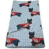 BAOQIN Long-Lasting Quality,Quickly Absorbs Moisture Stylish Toalla Scottie Dog with Bagpipes Soft Cotton Large Hand Toalla- Multipurpose Bathroom Toallas for Hand, Face, Gym and SPA
