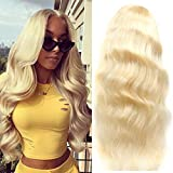 613 Blonde 13x1 Lace Front Body Wave Wigs 18Inch Human Hair with Baby Hair Pre Plucked Middle Part Brazilian Body Wave Lace Frontal Wig Blonde Remy Lace Wigs For Women(18, 613 body)