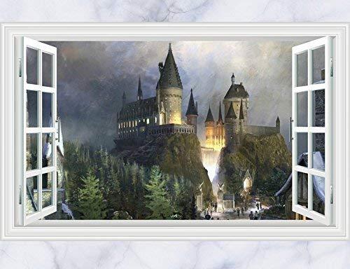 skyllc® Ancient Castle dans la forêt 3D Window View Decal Wall Sticker Decor Art Mural