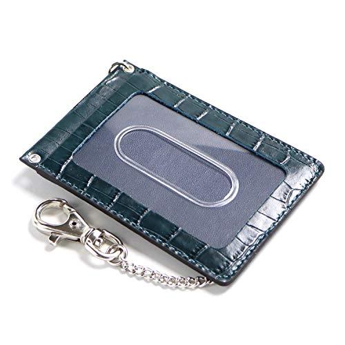 革職人 Various (バリアス) パスケース チェーン付き ナスカン付き 30cm 本革 VR025 BGNV (ブルーグリーン×ネイビー)