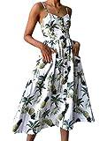TYQQU Vestido de mujer sexy con botones en la parte delantera y espalda descubierta, vestido informal de trabajo, sin mangas, vestido de playa para fiesta 0670 blanco. XXL