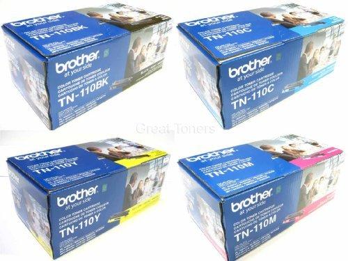 Original Brother TN-110BK, TN-110C, TN-110M, TN-110Y (TN110BK, TN110C, TN110M, TN110Y) 1500~2500 Yield Black, Cyan, Magenta, Yellow Toner Cartridge 4 Pack Set - Retail