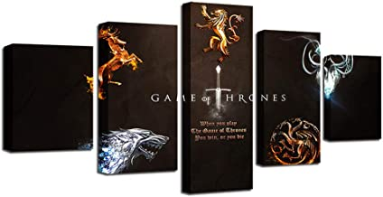 Modern living room wall art decoration HD printing 5 pieces game throne poster canvas painting modular picture frame artwork