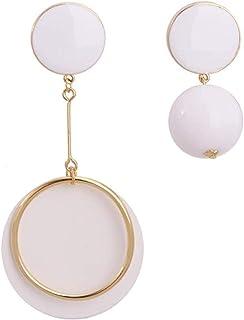 Pendientes Pendientes redondos blancos asimétricos individuales, moda exquisita, temperamento clásico popular, largos