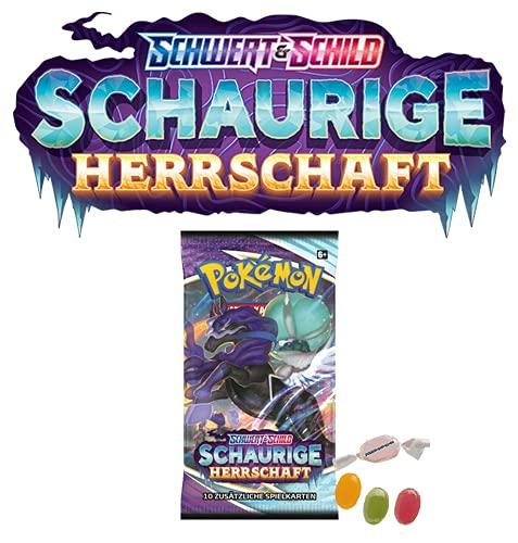 ★ Pokémon Schwert und Schild Schaurige Herrschaft- 1x Display (18 Booster) - Deutsch OVP zusätzlich 1 x Sticker-und-co Fruchtmix Bonbon