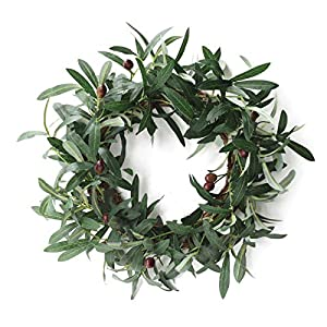 SMLJFO Door Wreaths, 40cm Artificial Olive Wreath with Olive Fruit Silk Flower Spring Summer Wreaths for Front Door Home Wall Hanging Decor Green