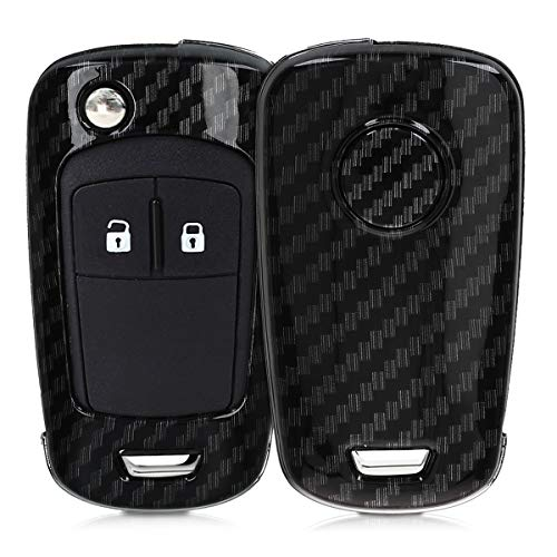 kwmobile Autoschlüssel Hülle kompatibel mit Opel Chevrolet 2-Tasten Klapp Autoschlüssel - Hardcover Schutzhülle Schlüsselhülle Cover Carbon Schwarz