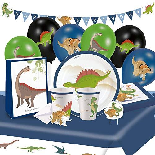 Amscan 9050 0368 - Partyset Happy Dinosaur, 8 Teller, 8 Becher, 16 Servietten, Tischdecke, Kerze, 4 Beutel/Sticker, Girlande, 8 Einladung-Sets, 6 Ballons