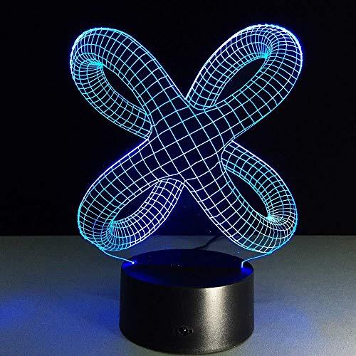 Weihnachtsgeschenk Usb 3D Nachtlicht Touch Tischlampe, Yunle 7 Color Shift Optische Folie, Acryl Tablet Pc, Abs Base, Usb Kabel Urlaub