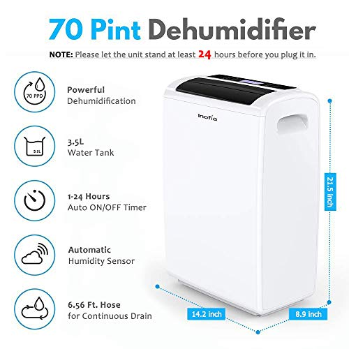 Inofia 70 Pint Dehumidifiers for Basements Bathroom Garage Large Room up to 4,000 Sq Ft, Portable Home Dehumidifier with Drain Hose/Laundry Mode/Caster Wheels/7.4 Pints(3.5 litres) Water Reservoir