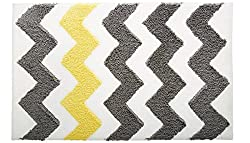 Comfysail Yellow and Grey Striped Microfiber Bathroom Rug