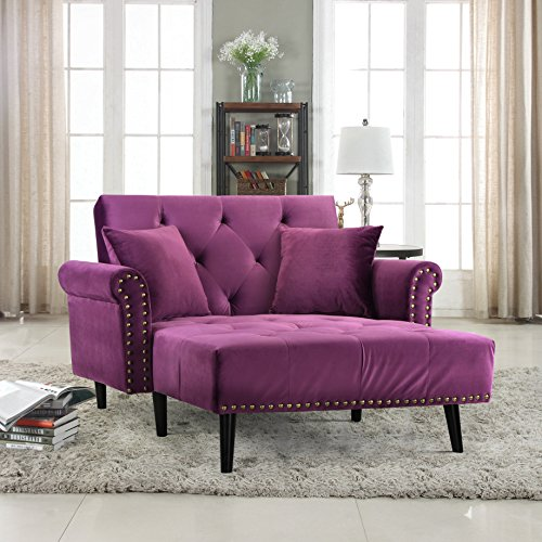 Divano Roma Furniture Modern Velvet Fabric...