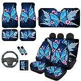 HUGS IDEA Blue Butterfly Auto-Fußmatte für Vorder- und Rücksitz, mit Schultergurtpolster, bequeme...