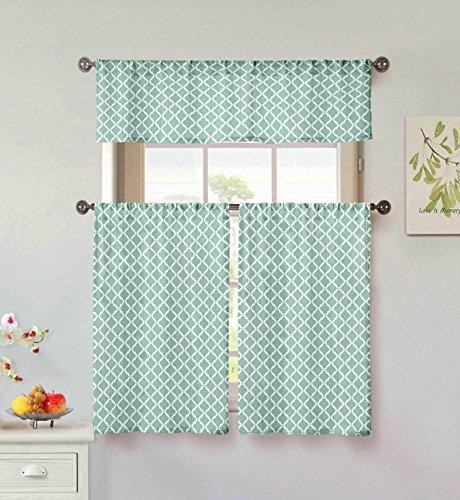 Home Maison Moana Geometric Print Linen Textured Kitchen Tier & Valance Set | Small Window Curtain for Cafe, Bath, Laundry, Bedroom, Aqua Blue