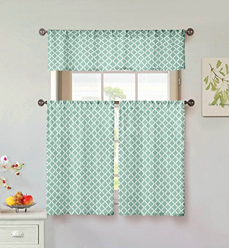 Home Maison Moana Geometric Print Linen Textured Kitchen Tier & Valance Set | Small Window Curtain for Cafe, Bath, Laundry, Bedroom, Aqua Blue