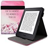 kwmobile Funda Compatible con Amazon Kindle Paperwhite - Carcasa para e-Book de Cuero sintético - Be Happy for Rosa Claro/Violeta/Coral (para Modelos hasta el 2017)