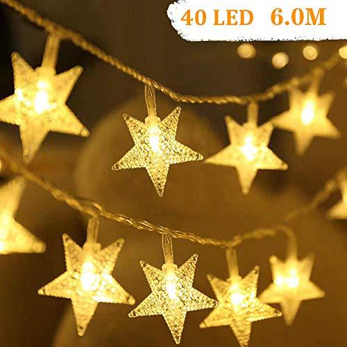 Luci stringhe Catena Luminosa, impermeabili da 6 m 40 LED luce per corde a per decorazioni per la casa, feste, Natale, giardini, a batteria - forma di stella