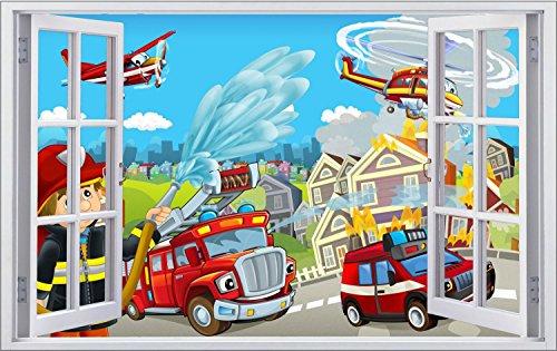 Feuerwehr Stadt Feuer Kinder Wandtattoo Wandsticker Wandaufkleber F0867 Größe 70 cm x 110 cm
