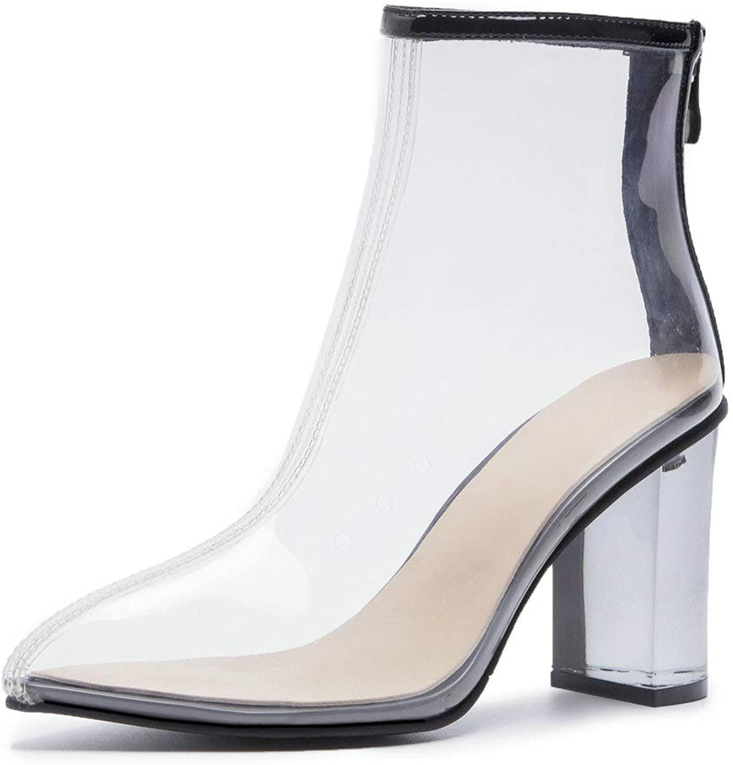 AnMengXinLing Ankle Boot Women Translucent Transparent Perspex Block High Heel Pointed Toe Back Zip Dress Boot Spring Pumps shoes 2019 Plus Size