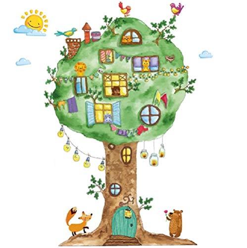 WandSticker4U®- Aquarell Wandtattoo BAUM Kinderzimmer I Wandbilder: 120x65 cm I Wanddeko Wandaufkleber Babyzimmer Wald-tiere Dschungel Fuchs Bär Vögel I Wandsticker für Kinder GROSS