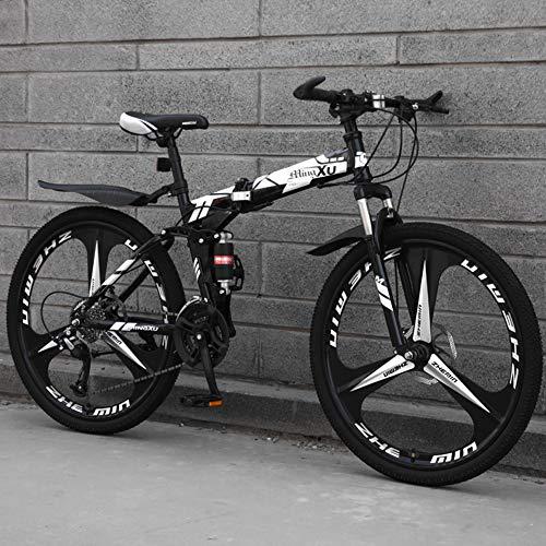 TopBlïng Ligero Mini Bicicleta Plegable,Portátil Ciudad Folding Bike Compacto Adulto Bike,26 Pulgadas Bicicleta De Montaña,con Defensas Freno De Disco Doble-L 21 Velocidad