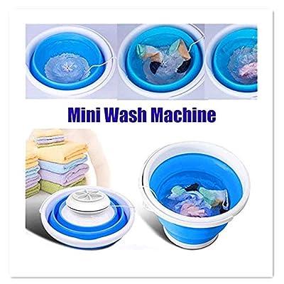 Mini Washing Machine, 10L Portable Mini Turbo Washing Machine with Foldable Tub Compact Ultrasonic Turbine Washer, USB Folding Portable Mini Laundry Machine for Travel Camping (Blue)