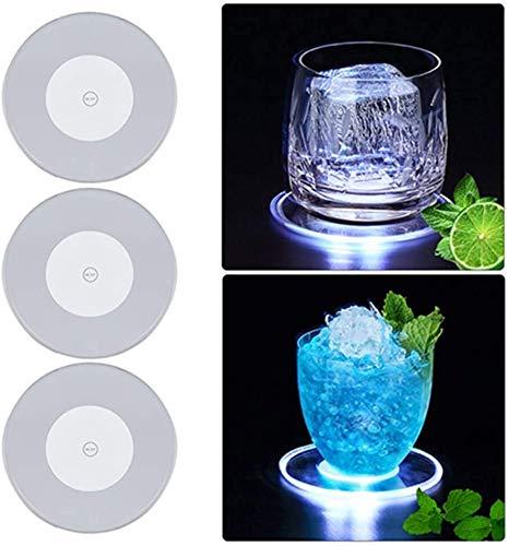 Duyifan Posavasos Luminoso LED de Cristal acrílico Ultrafino con luz LED para cóctel, acrílico Ultrafino, Posavasos de cóctel de Colores en Barra Luminosa (3 pc) (White)