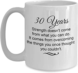 30 Years Sobriety Gifts - Strength Comes From Overcoming Things You Once Thought You Couldn't Coffee Mug, Encouraging Sober Anniversary Gift Ideas, 15