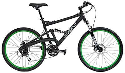 2020 Gravity FSX 2.0 Dual Full Suspension Mountain Bike with Disc Brakes (Matt Black with Green Wheels, 15inch)