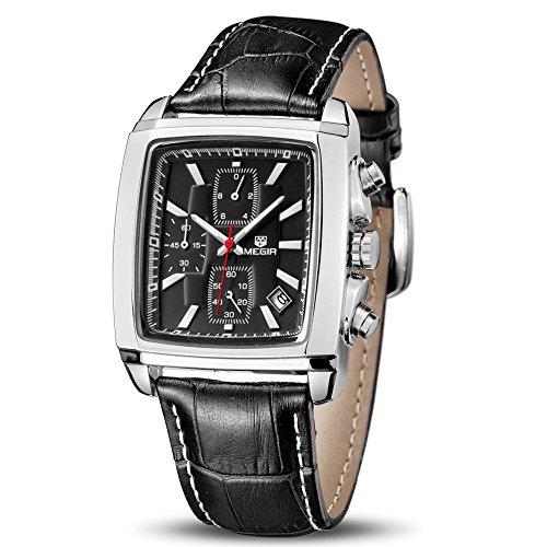 MEGIR Quartz Rectangular Analog Waterproof Luminous Chronograph Leather Strap Men's Wrist Watch with Calender (Black)