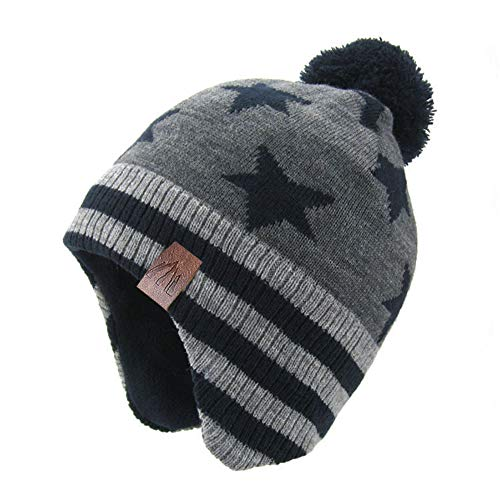 Moon Kitty Baby Boys Girls Knit Hats Winter Fleece Skiing Winter Caps with Warm Ear Flap Navy