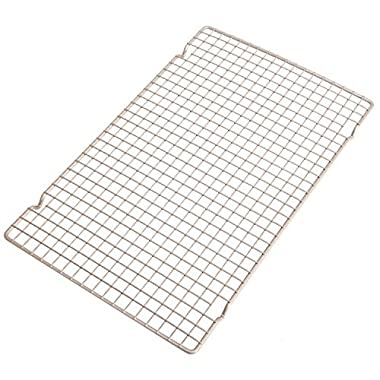 CHEFMADE Non-stick 16 Inch Wire Cooling Rack, Heavy-duty Carbon Steel Bold-Grid Design FDA Approved, Oven Roasting Grilling Baking, Fits Half Sheet Cookie Pan 16.3  x 10.1 (Champagne Gold)