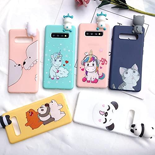 Funda para Samsung Galaxy S8 S9 S10 3D S8 S9 S10 Plus Case Note 8 9 Kawaii Unicorn Bear Cover para Coque Samsung S7 Edge Case