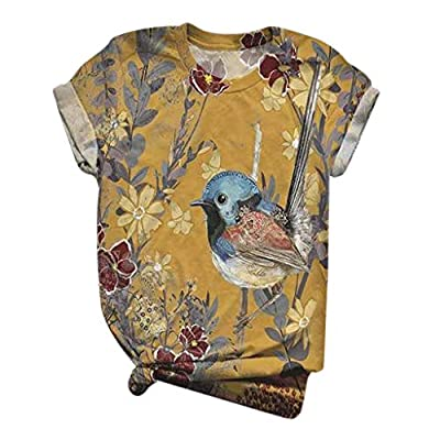 Dosoop Graphic Short Sleeve for Women,Summer Casual Loose Tunic Tees Tops Cute Small Bird Printed T-Shirt Blouse Pullover