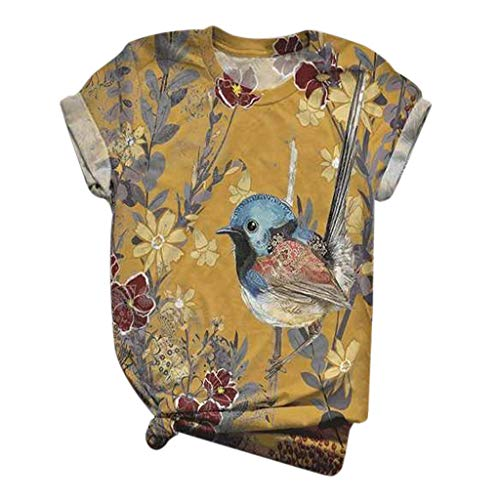 Sunmoot Clearance Sale Women Print T-Shirt New Animal Graphic Blouse Novelty Pattern Crew Neck Short Sleeve Tee Tops for Teen Girls