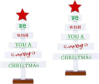 LOVIVER 2x We Wish You A Merry Christmas Tree Wood Ornament Table Centerpiece Decor