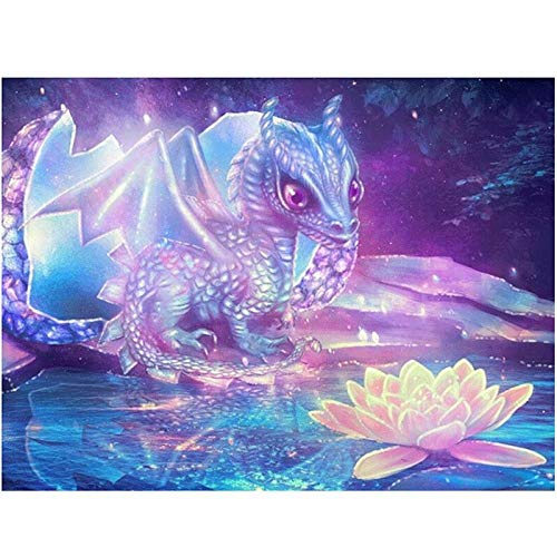 DIY 5D Diamond Painting Kits Full Drill Arts Craft Canvas Supply for Home Wall Decor Adults and Kids Round Diamond Baby Dragon 40inx120in