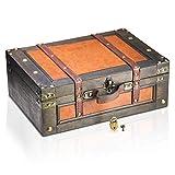 Brynnberg Caja de Madera Marco 38x27x14cm - Cofre del Tesoro Pirata de Estilo Vintage - Hecha a Mano...