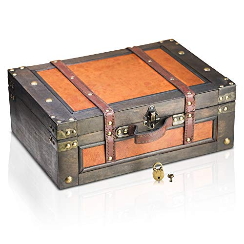 Brynnberg wooden pirate treasure chest Marco 38x27x14cm decorative storage box - Vintage decoration handmade - with padlock lockable with key