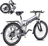 RDJM Bicicleta eléctrica Bicicleta eléctrica de montaña con 500W sin escobillas del Motor, la batería de Litio de 26 Pulgadas 48V12.8AH Y Fat Tire (Color : Grey)